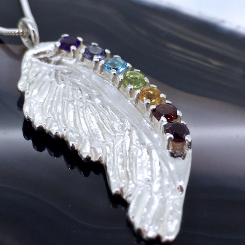 Silver rainbow angel and chakra gemstone jewellery